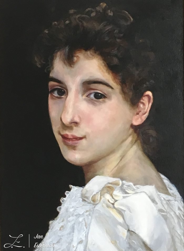 Gabrielle Cot   after Bouguereau 42x20cm