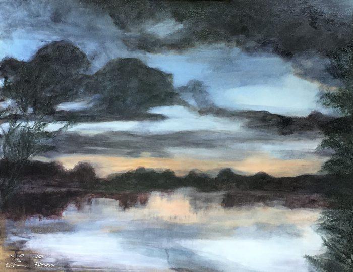 'Aldenham Lake mist' oil on board
