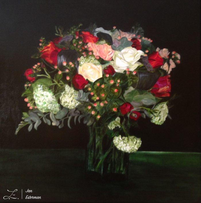 'Celebration Bouquet'  oil on board  52x52cm