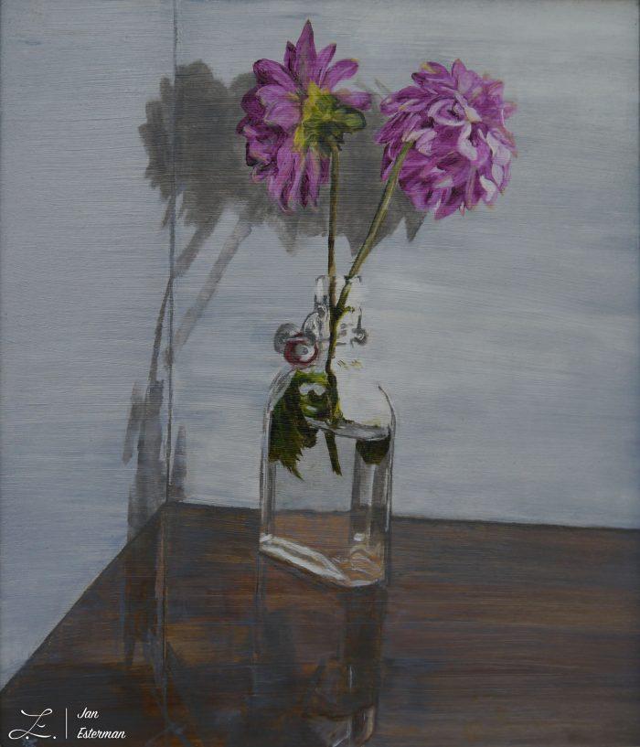 Dahlias in bottle oil on panel 38x32 cm