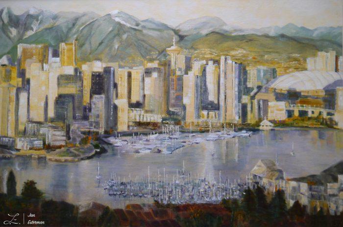'False Creek Vancouver' oil on canvas board 50x75cm