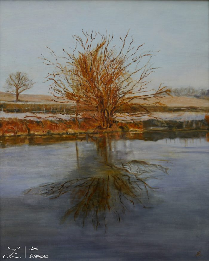 Frost on Grand Union Canal 50x40 cm  oil on board