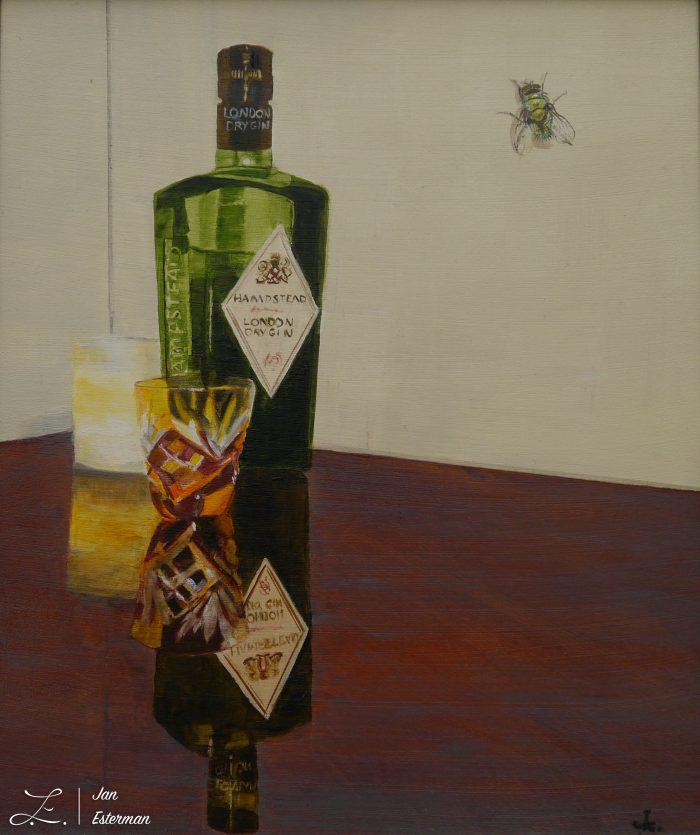'Green Bottles' oil on board 35x30cm