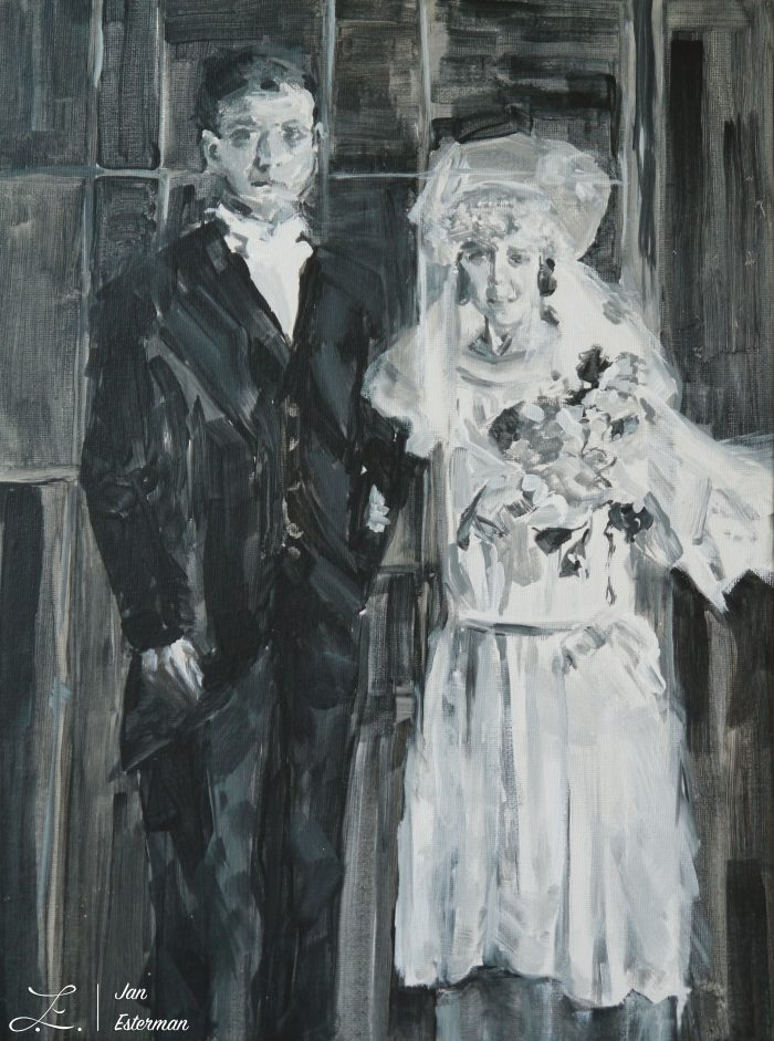 'Leah and Isaac 1920' acrylic on canvas