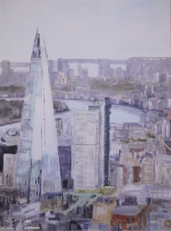 'London' left side double painting oil on board commissioned