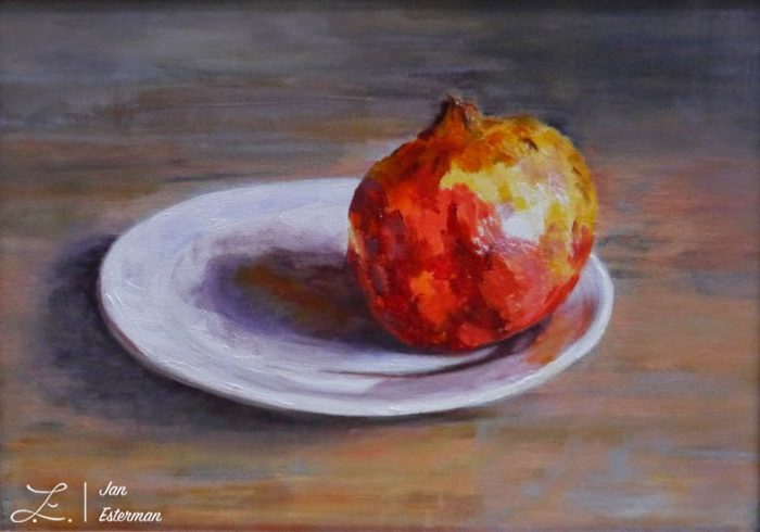 'Pomegranate on a plate' oil on birchwood panel 23x32cm