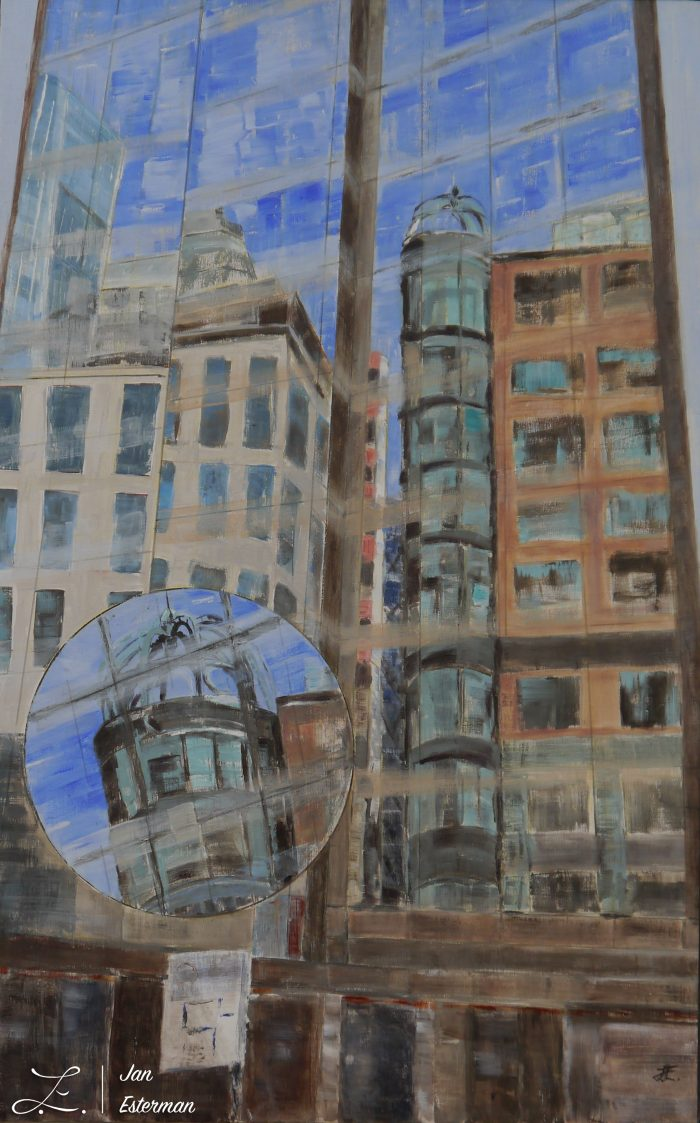 Reflections Liverpool Street oil on birch