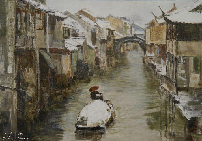 Shantung Canal  acrylic on board  37x26cm